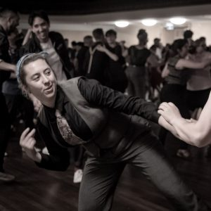 Woman dancing leaning to the side